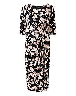 Black Floral Twist Knot Dress