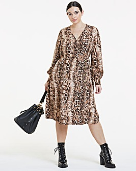 Snakeskin Print Button Detail Wrap Dress