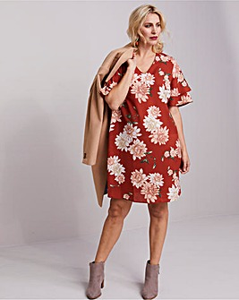 Paprika Floral Ruffle Sleeve Dress