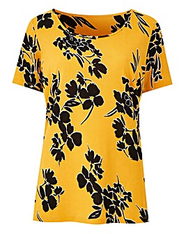 Ochre Print Value Short Sleeve Top
