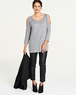 Grey/ Metallic Cold Shoulder Jumper