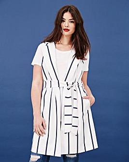 Simply Be Stripe Sleeveless Jacket
