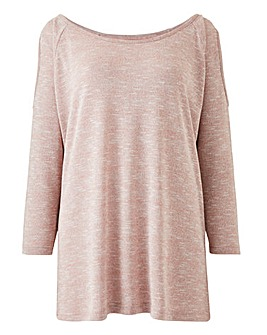 Pink/ Metallic Cold Shoulder Jumper