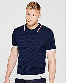 Flintoff By Jacamo Knitted Polo Long