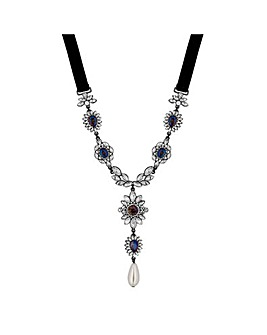 Mood Ornate Crystal Y Necklace