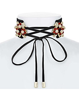 Mood Crystal Cluster Tie Front Choker