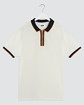 Ochre Tipped Zip Neck Pique Polo