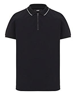Black Zip Neck Polo