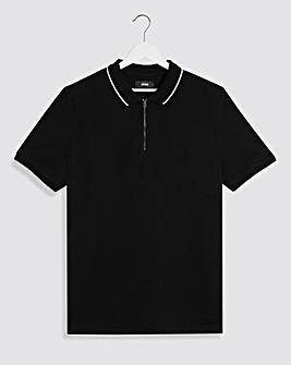 Black Zip Neck Polo