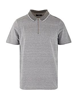 Grey Zip Neck Polo