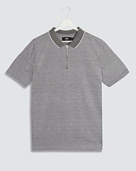 Grey Zip Neck Polo