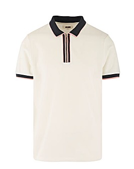 Pink Tipped Zip Neck Pique Polo