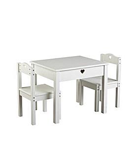 Home Mia Kids Table & 2 Chairs - White