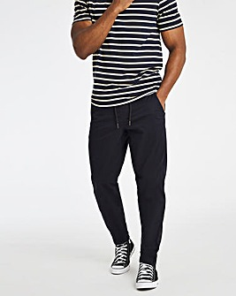 Navy Elasticated Waist Tapered Trousers