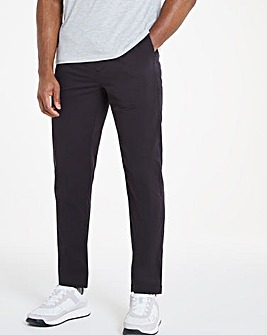 Black Elasticated Waist Tapered Trousers