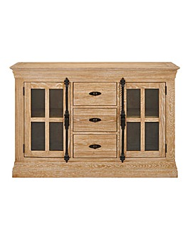 Balmoral Oak and Oak Veneer 2 Door 3 Drawer Sideboard
