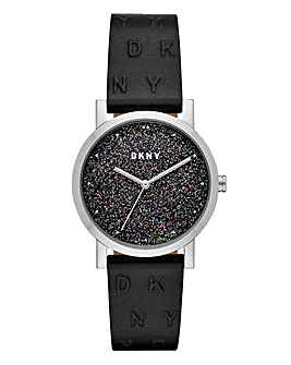 DKNY Soho Black Leather Ladies Watch