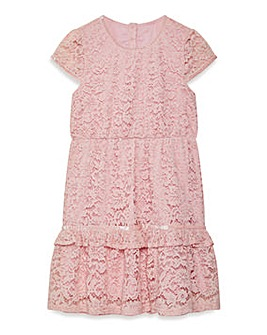 Yumi Girl Peplum Frill Lace Dress