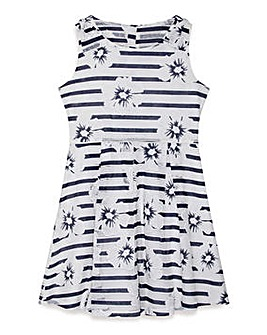 Yumi Girl Nautical Floral Stripe Dress