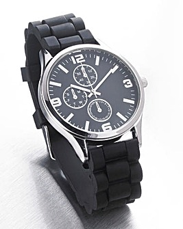 Black Silicon Strap Gents Watch