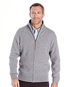 Premier Man Grey Rib Zipper Cardigan Regular