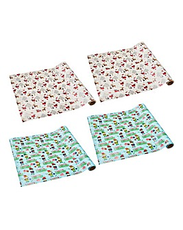 Pack 4 Novelty Xmas Wrapping Paper 10m