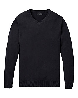 Capsule Black V- Neck Cotton Jumper Long
