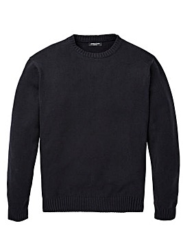Capsule Black Crew Neck Cotton Jumper Long