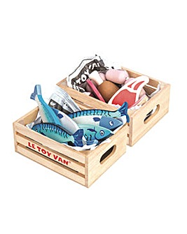 Le Toy Van Meat & Fresh Fish Crate Set
