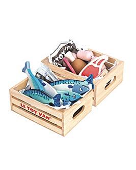 Le Toy Van Market Meat & Fresh Fish Crate Set