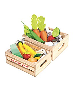 Le Toy Van Vegetables & Fruits Crate Set