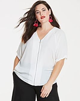 Ivory Zip Detail Top
