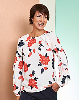 Ivory Floral Ruffle Raglan Sleeve Blouse