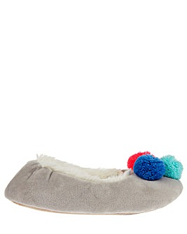 Accessorize Pom Pom Ballerina Slipper