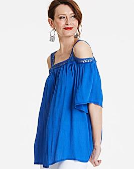Blue Crochet Trim Cold Shoulder Top