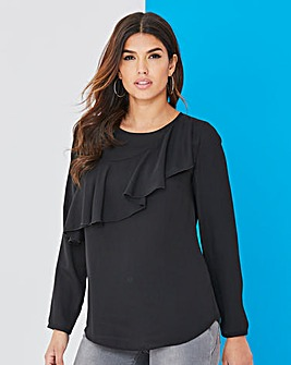 Black Asymetric Ruffle Blouse