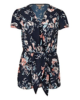 Navy Floral Tie Front Blouse