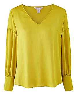 Yellow Drop Sleeve Deep Cuff Blouse