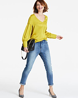 Yellow Drop Sleeve Deep Cuff Blouse