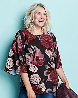 Plum Floral Boat Neck Angel Sleeve Top