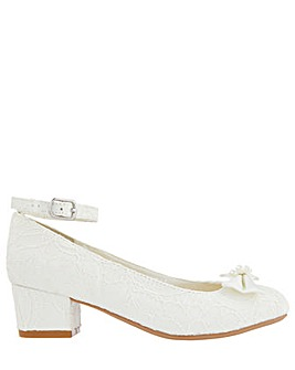 Monsoon Lara Shimmer Lace Ivory Shoe