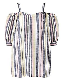 Pink Stripe V Neck Cold Shoulder Top