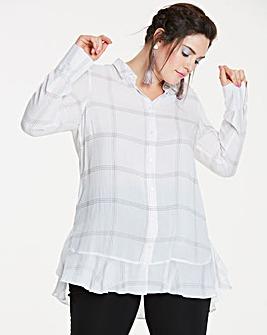Ivory Check Frill Hem Shirt