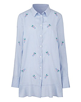 Blue Stripe Frill Hem Shirt