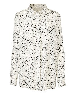 Ivory Heart Print Viscose Shirt