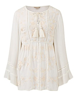 Ivory Crinkle Embroidered Tassel Top