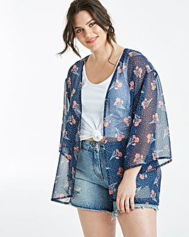 Navy Floral Printed Kimono