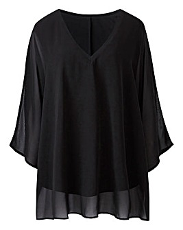 Black V-Neck Top with Jersey Lining