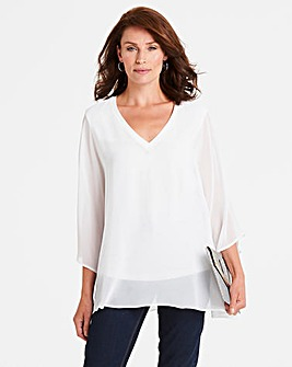 Ivory V-Neck Top with Jersey Lining