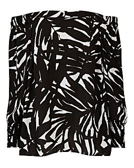 Black Print Petite Bardot Blouse